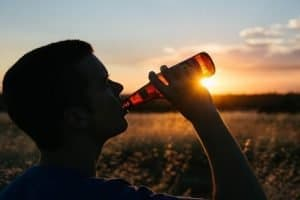 Teen drinking beer