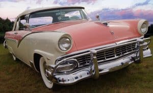 Antique Ford Fairlane, two-toned cream and pink.