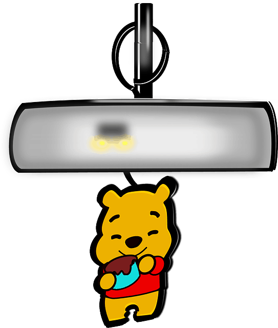 Winnie the Pooh keychain hanging on rearview mirror