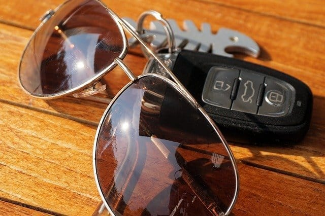 Sunglasses and car keys