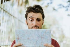 Man checking map